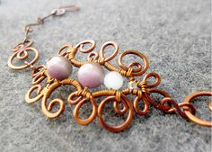 HENNA FLOWER bacelet Copper shapping combined eyes cat stone and bead - copper jewelry - wire jewelry