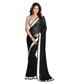 a5aaaa3628 153299 Black and Grey color family Party Wear Saree in Faux Georgette  fabric with Zari, Lace work with matching unstitched blouse.