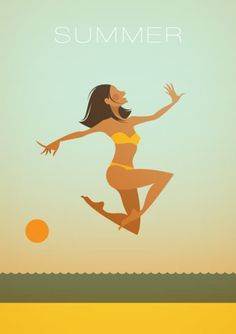 Girl on the Beach Illustration Art Summer Of Love, Summer Time, Summer 2014, Summer Beach, Summer Fun, Stanley Chow, Manchester England, Manchester United, Summer Prints