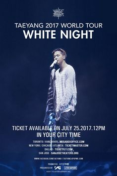 TAEYANG announces 2017 'WHITE NIGHT' world tour dates & ticket sales for the U.S. and Canada! http://www.allkpop.com/article/2017/07/taeyang-announces-2017-white-night-world-tour-dates-ticket-sales-for-the-us-and-canada