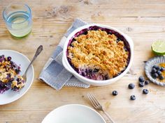 Yummy Blueberry & Lime crumble dessert made with Alpro Almond Dessert Moments
