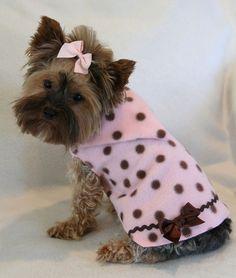 Pink & Brown Polka Dot Hoodie Dress