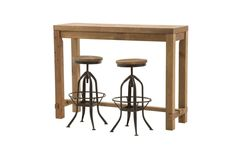 Stonemill Half Bar Table with Stonemill Adjustable Stools - Products - 1825 interiors Table:  1400W x 450D x 1050H mm; stool:  440W x 440D x 600H mm. Normal retail $699