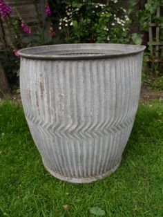 Vintage Original Traditional Large Galvanised Dolly Tub in very good condition. Superb Large Garden Planter Ornament with spout by VintageFoggy on Etsy