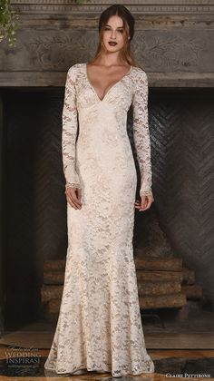 claire pettibone fall 2017 bridal lace long sleeves v back full embellishment elegant sheath wedding dress lace back sweep train (amber) mv