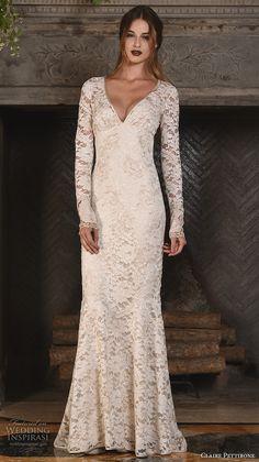claire pettibone fall 2017 bridal lace long sleeves v back full embellishment elegant sheath wedding dress lace back sweep train (amber) mv