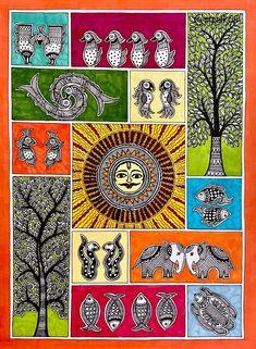 Madhubani Art, Madhubani Painting, Indian Traditional Paintings, Original Artwork, Original Paintings, Ikea Frames, Buy Art Online, Small Art