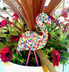 Add a Sparkling Flamingo to Boring Planters