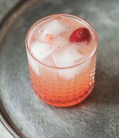 Strawberry Lemon White Whiskey Collins