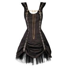 Black Dress with Shoulder Straps and Gold Chain