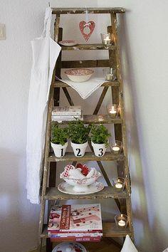 Cottage Ladder HERB GARDEN POTS NUMBERED!!