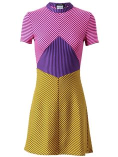 House of Holland Contrasting Striped Wool Dress