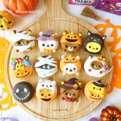 TRICK OR TREAT?👻 Look at these cute Rilakkuma donuts, they are perfect for Halloween! Almost too cute to eat! Would you resist eating them? Postres Halloween, Halloween Desserts, Halloween Treats, Cute Donuts, Cute Cookies, Cute Japanese, Japanese Food, Japanese Sweets, Cakepops
