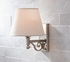 Master Bath- Like the narrow mount and the scroll - $99 Florence Single Sconce with Linen Shade | Pottery Barn