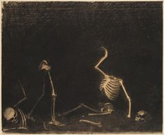 Fighting Skeletons, Charcoal and stumping on paper. Odilon Redon (1840-1916)