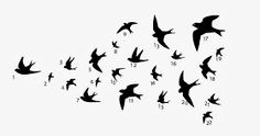 To make sure all the birds were in the same place as in the computer, I've attributed numbers to each one off the 22 swallows. Easy Crafts, Swallows, Stencils, Wall Decor, Birds, Ideas Para, Numbers, Curly, Pdf
