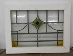 "MID SIZED OLD ENGLISH LEADED STAINED GLASS WINDOW Triangle design 24.75"" x 19"""