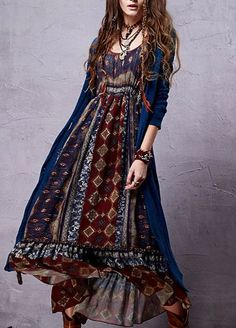 Bohemian Chiffon Dress -  Bohemian Chiffon Dress Sleeve Style: Lantern SleeveMaterial: Cotton,PolyDresses Length: Ankle-Length - On Sale for $79.00 (was $98.00)