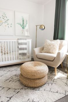 White and green nursery features botanical prints placed over a Babyletto Scoot . baby , White and green nursery features botanical prints placed over a Babyletto Scoot . White and green nursery features botanical prints placed over a Ba. Convertible Crib, Baby Room Decor, Room Baby, Baby Room Green, Light Green Nursery, Bedroom Green, Boy Room, Jungle Baby Room, Toddler And Baby Room