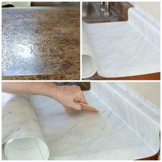 DIY Cheap Countertops with Contact Paper - my wee abode Learn how to update your kitchen countertops with removable contact paper! This diy tutorial will show you how to cover your counters with f Kitchen Cabinet Remodel, New Kitchen Cabinets, Kitchen Sinks, Remodel Bathroom, Cheap Countertops, Kitchen Countertops, Kitchen Worktop, Kitchen Backsplash, Diy Kitchen Decor