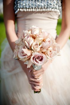 Champagne wedding bouquet and dress