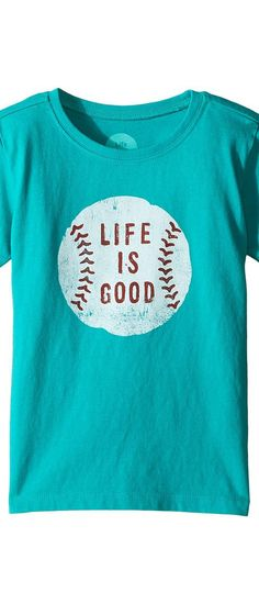 Life is good Kids Baseball Tee (Toddler) (Bright Teal) Boy's T Shirt - Life is good Kids, Baseball Tee (Toddler), 48034-310, Apparel Top Shirt, T Shirt, Top, Apparel, Clothes Clothing, Gift, - Street Fashion And Style Ideas
