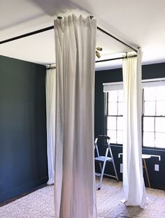 i spent a lot of time researching brackets rods methods etc to create this drapery canopy for the bed i had seen a lot of inspiration images in the pa