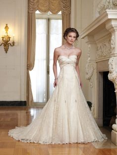 The gown fully over covered by lace overlay, with strapless bust, features romantic. A good dress for 2010 fall wedding. Recommended color: White, Ivory.