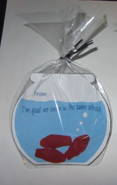 KIDS VALENTINE CARD,Swedish fish,candy favor, including bags and ties,fish bowl,treat,. $10.00, via Etsy.