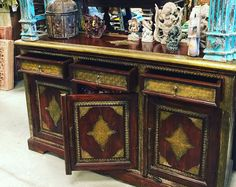 Antique  spice chests called Damchias  with colors that are so vibrant and studded with mirrors , so much fun! Old door tables , vintage ca...