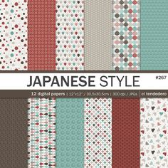 "Geometric digital paper pack ""japanese style"""