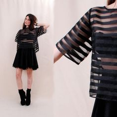 Insane Vintage CAGE BLOUSE Black Sheer Blouse - sheer top, 90s clothing, striped shirt, boxy crop top - Paramount Vintage
