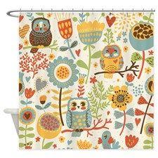 Flowers and Owls Shower Curtain - Owl Gift Ideas (CafePress.com)