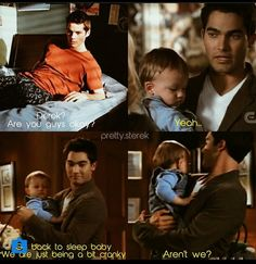 Derek and the baby accidentally wake up an exhausted Stiles. <3 Sterek babies!