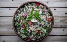 Garden Picnic Pasta Salad With Veggies, Herbs, and Orange-Miso Tahini Dressing [Vegan, Gluten-Free] - One Green PlanetOne Green Planet Sin Gluten, Gluten Free, Dairy Free, Raw Vegetables, Veggies, Whole Food Recipes, Vegan Recipes, Vegan Soups, Free Recipes