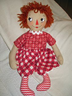 Raggedy Ann Doll in Red and White Print Dress by MyDisgustedCats, $36.00 white print, print dress