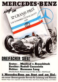 wall art reproduction. Mercedes Benz racing old magazine advert poster