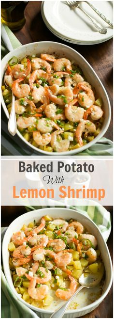 Baked Potato with Lemon Shrimp