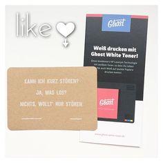 Vorhin auf dem #stijl #designmarkt gab es am Stand von @ghostwhitetoner eine wirklich tolle Aktion. Man konnte  sich eine Karte mit einem eignen Spruch bedrucken lassen. Das besondere daran war das es mit einen Drucker mit weißem Toner gedruckt worden ist. Das Beste an der Aktion ist allerdings das man mit einem Bild von seiner gedruckten Karte an einem Gewinnspiel für einen dieser Drucker teilnehmen kann Da bin ich super gern dabei #madewithghost