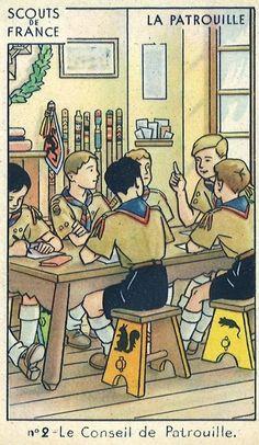 Chocolat Lacroix - Tourcoing.  Scouts de France. Image n°2: le conseil de patrouille.  via la Malle à Papa Scouts, Comics, Steamer Trunk, Radiation Exposure, Chocolates, Boy Scouts, Boy Scouting, Cartoons, Cub Scouts