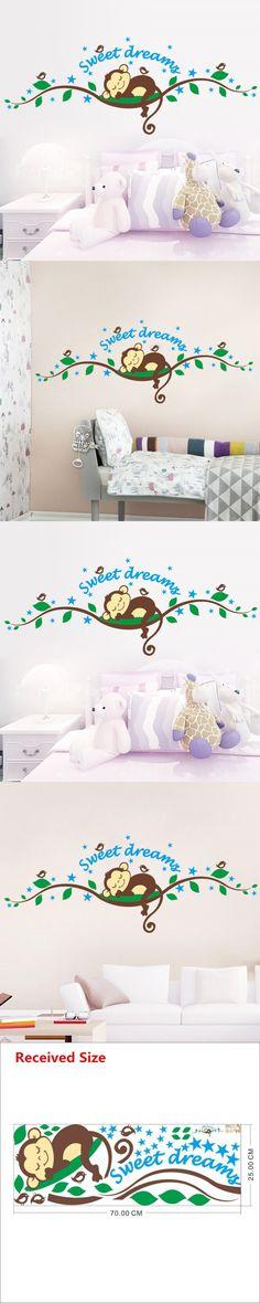 1203 * Diy Sweet Dreaming Sleeping monkey on the trees wall stickers kids rooms wall decal Mural Kids Nursery Bedroom home decor