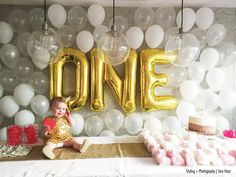 1 Gold Number Balloon 34 Mylar Foil Alphabet by thepaperkit