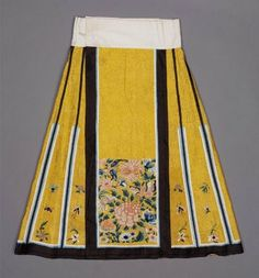 Woman's domestic skirt (qun) Chinese, Qing dynasty, 1880s China Dimensions 84 x 77 cm (33 1/16 x 30 5/16 in.) Medium or Technique Silk damask embroidered with silk