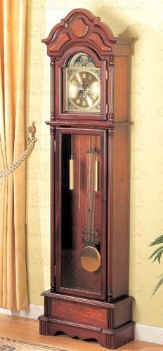 Beautiful Cherry Grandfather Clock Wood Curio Chime New - Coaster 900749 by Coaster Home Furnishings. $279.15. Grandfather Floor Clock in Cherry Finish. Home Decor->Clocks. Home Decor. Some assembly may be required. Please see product details.. This brand new grandfather clock is a MUST HAVE item for your home. It features beautiful dark cherry finish and battery powered movement (Battery Not Included). Use this versatile piece in your entry way hallway family room or liv...