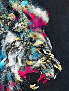 LION WALL ART CANVAS PRINT - 30x45cm / A5-5 no frame