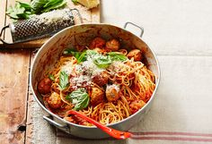 This family friendly dish makes a perfect weeknight meal. Prepare the meatballs…