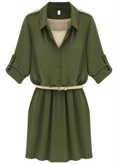 Vestido gasa con cinturón-Ejército Verde US$37.99