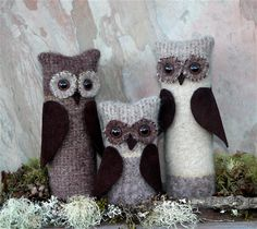 Three Wise Owls... reclaimed felted wool leather art dolls ... etsy.com