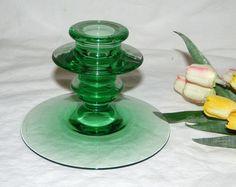 Vintage Depression Green Emerald Green Candlestick Candle HolderC5