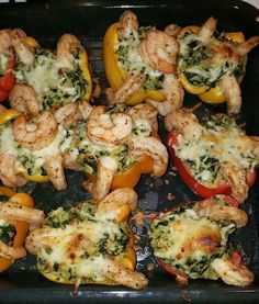 Inbox after Inbox.....what's the recipe?? Well here it is...STUFFED ROASTED PEPPERS WITH SHRIMP U WILL NEED: 2 yellow peppers 2 red peppers 2 orange peppers 2 cups White rice Spinach Roasted garlic Alfredo Large shrimps(Raw is Better) Mozzarella cheeeeeeese **Cut peppers in half or just cut the top off (however u prefer)** Meanwhile your rice is cooking (Hope u know how to cook rice) 2 cups of water for every 1 cup of rice **Dont make rice to soft or else it will be mushy when it comes